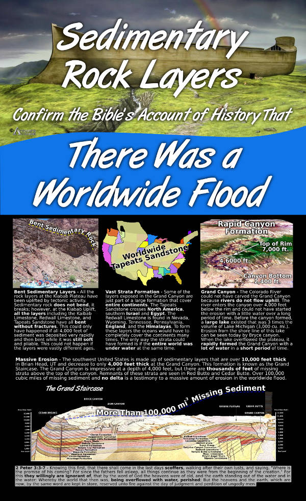 Sedimentary Rock Layers Confirm the Bibles Account of History That There Was a Worldwide Flood