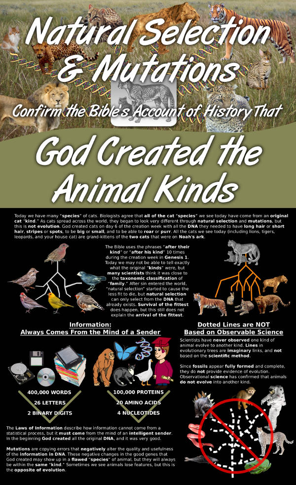 Natural Selection and Mutations Confirm the Bibles Account of History That God Created the Animal Kinds